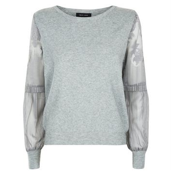 Pale Grey Lace Balloon Sleeve Jumper New Look