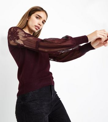 Burgundy Lace Balloon Sleeve Jumper New Look