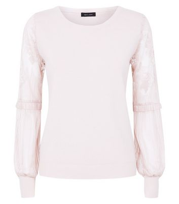 Shell Pink Lace Balloon Sleeve Jumper New Look