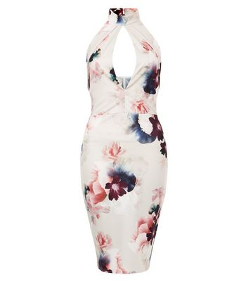 Pink Vanilla White Floral Print Choker Neck Dress New Look