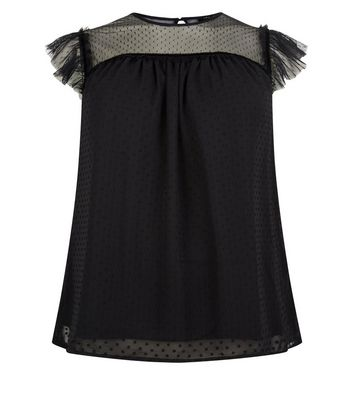 Black Mesh Lace Sleeve Top New Look