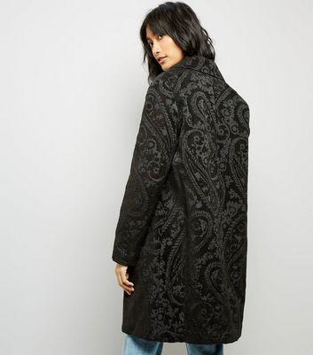Black Paisley Jaquard Coat New Look