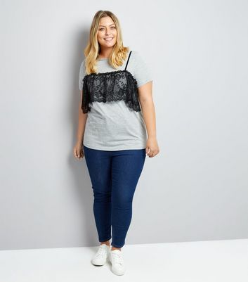 Curves Grey 2 In 1 Bralet T-Shirt New Look