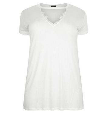 Curves White Lace Trim Choker T-Shirt New Look