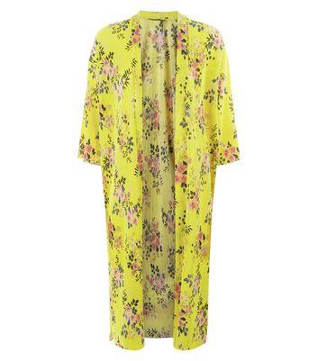 Yellow Floral Print Plisse Kimono New Look