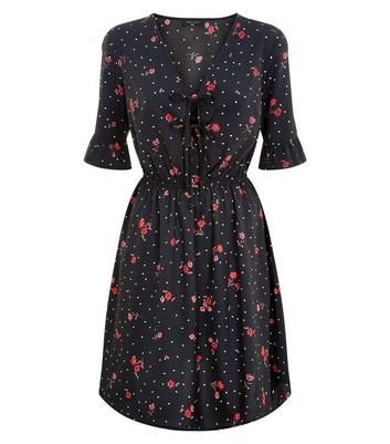 Tall Black Floral Tie Front Dress New Look