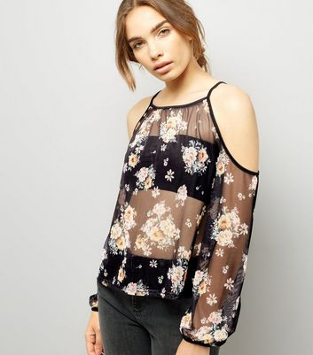 Black Floral Print Mesh Cold Shoulder Top New Look