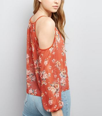 Brown Floral Print Mesh Cold Shoulder Top New Look
