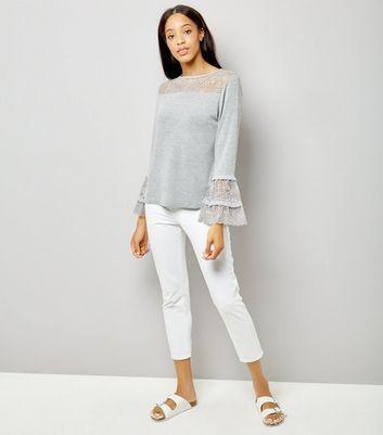 blue-vanilla-grey-lace-frill-sleeve-top