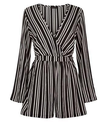 Black Stripe Flared Sleeve Playsuit New Look