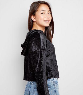 Teens Black Velvet Print Hoodie New Look