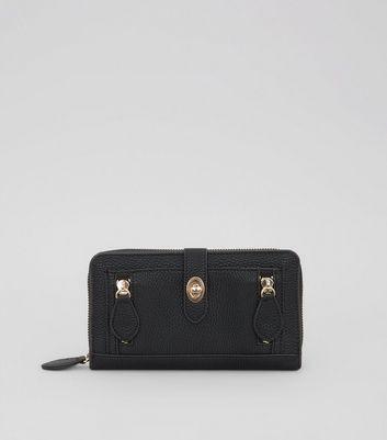 Black Double Zip Push Zip Around Lock Purse New Look