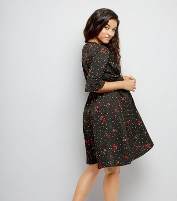 Maternity Black Floral Polka Dot Dress New Look