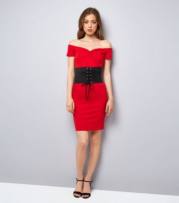 Pink Vanilla Red Corset Belt Bardot Dress New Look