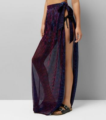 Purple Iridescent Sarong Maxi Skirt New Look