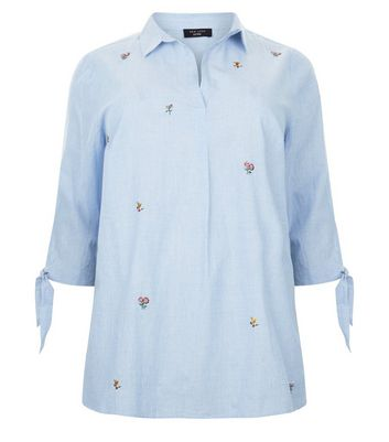 Curves Blue Floral Embroidered Tie Sleeve Shirt New Look