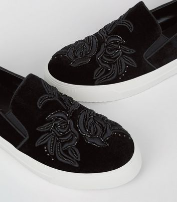 Black Velvet Floral Embroidered Slip On Plimsolls New Look