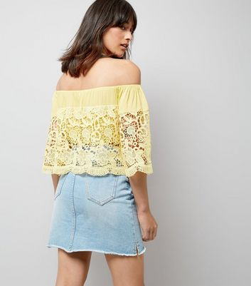 Blue Vanilla Yellow Lace Bardot Neck Top New Look
