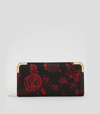 Black Roses Jacquard Zip Around Purse New Look