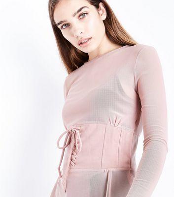 Pink Vanilla Pink Mesh Corset Waist Top New Look