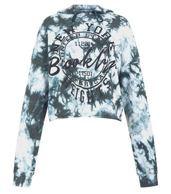 Blue Tie Dye Slogan Print Hoodie New Look