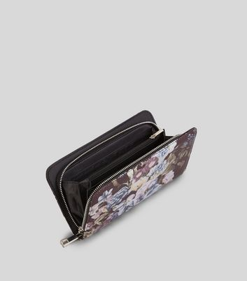 Black Digital Floral Print Purse New Look