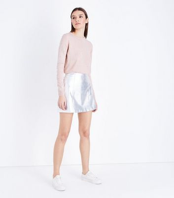 Shell Pink Bead Embellished Jumper New Look