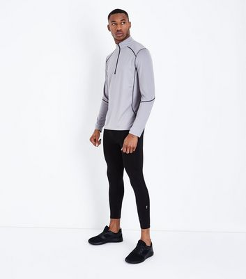 Grey Mesh Long Sleeve Sports Top New Look