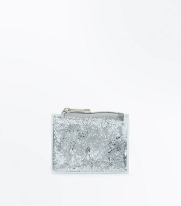 Silver Glitter Transparent Zip Top Purse New Look