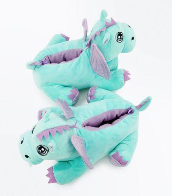 Teens Mint Green Dragon Slippers New Look