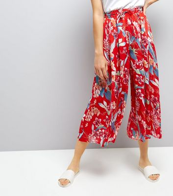 Red Floral Print Wide Leg Cropped Trousers New Look