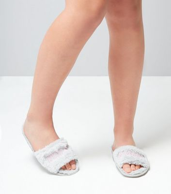 Teens Grey Nap Faux Fur Slippers New Look