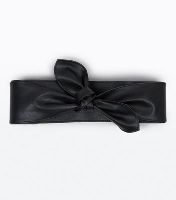 Black Bow Front Wide Belt New Look