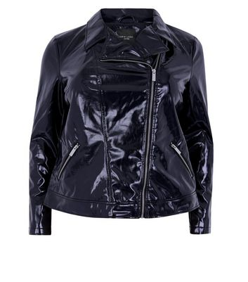 Curves Black Patent Leather-Look Biker Jacket New Look