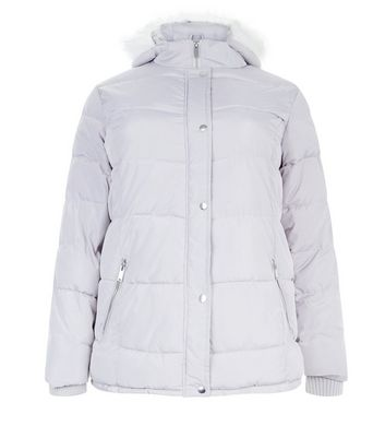 Curves Grey Hooded Puffer Jacket New Look