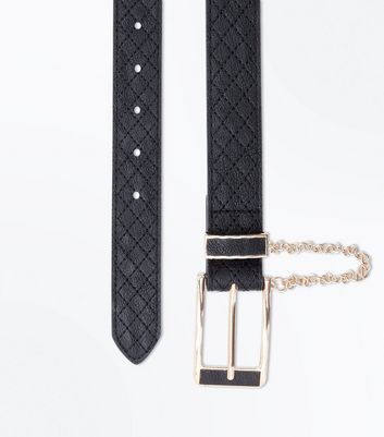 Black Quilted Drape Chain Jeans Belt
