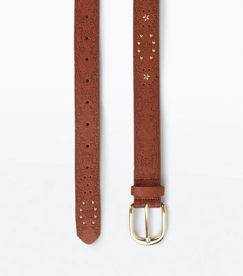 Tan Embossed Stud Detail Western Belt New Look