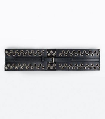 Black Eyelet Detail Buckle Corset Belt New Look