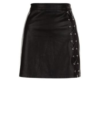 Black Eyelet Lace Up Leather-Look Mini Skirt New Look
