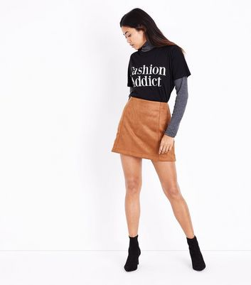 Petite Tan Suedette A-Line Mini Skirt New Look