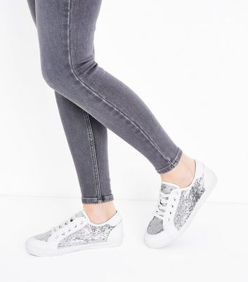 Wide Fit White Sequin Panel Trainers