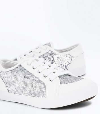 Wide Fit White Sequin Panel Trainers New Look