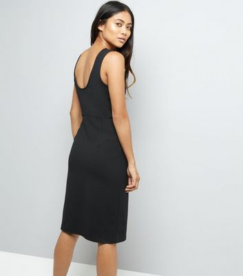 Petite Black Lace Up Skirt Bodycon Dress New Look
