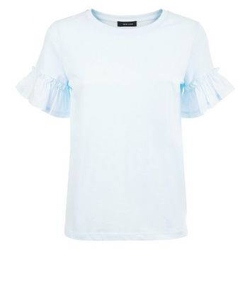 Pale Blue Woven Frill Sleeve Top New Look