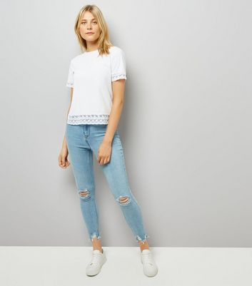 White Lace Trim T-Shirt New Look