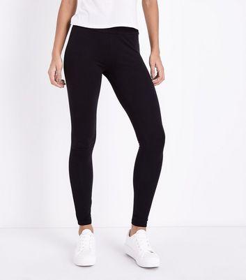Black Cotton Mix High Waist Leggings New Look