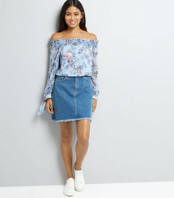 Petite Blue Floral Print Metallic Detail Bardot Neck Top New Look