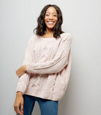 Shell Pink Chenille Cable Knit Oversized Jumper New Look