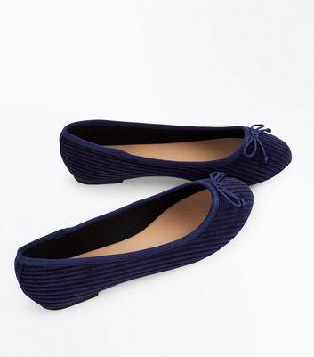 Wide Fit Blue Corduroy Ballet Pumps New Look