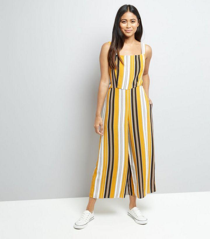 f95877d2dc9 Petite Yellow Stripe Tie Back Culotte Jumpsuit
